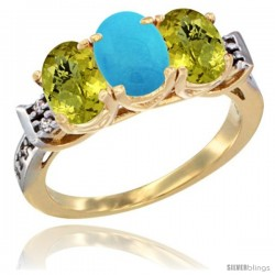 10K Yellow Gold Natural Turquoise & Lemon Quartz Sides Ring 3-Stone Oval 7x5 mm Diamond Accent