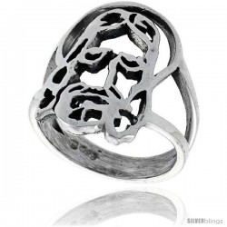 Sterling Silver Jesus Ring 7/8 in wide