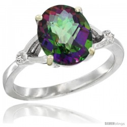 10k White Gold Diamond Mystic Topaz Ring 2.4 ct Oval Stone 10x8 mm, 3/8 in wide