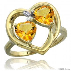 10k Yellow Gold 2-Stone Heart Ring 6mm Natural Citrine Stones