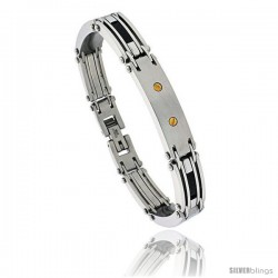 Gent's Stainless Steel Bracelet, w/ gold plated screw head & Black Carbon Fiber, 3/8 in wide, 9 in long