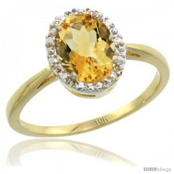 10k Yellow Gold Citrine Diamond Halo Ring 1.17 Carat 8X6 mm Oval Shape, 1/2 in wide