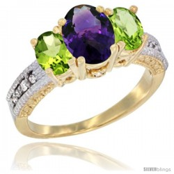14k Yellow Gold Ladies Oval Natural Amethyst 3-Stone Ring with Peridot Sides Diamond Accent
