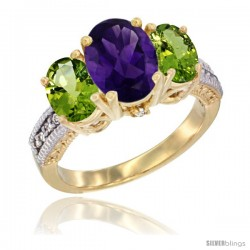 14K Yellow Gold Ladies 3-Stone Oval Natural Amethyst Ring with Peridot Sides Diamond Accent