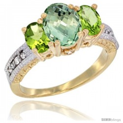 14k Yellow Gold Ladies Oval Natural Green Amethyst 3-Stone Ring with Peridot Sides Diamond Accent