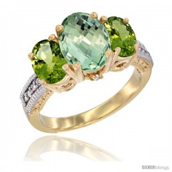 14K Yellow Gold Ladies 3-Stone Oval Natural Green Amethyst Ring with Peridot Sides Diamond Accent