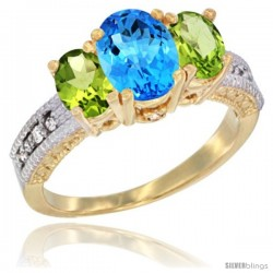 14k Yellow Gold Ladies Oval Natural Swiss Blue Topaz 3-Stone Ring with Peridot Sides Diamond Accent