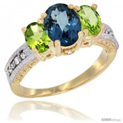 14k Yellow Gold Ladies Oval Natural London Blue Topaz 3-Stone Ring with Peridot Sides Diamond Accent