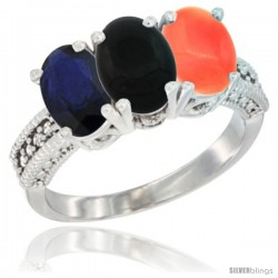 14K White Gold Natural Blue Sapphire, Black Onyx & Coral Ring 3-Stone 7x5 mm Oval Diamond Accent