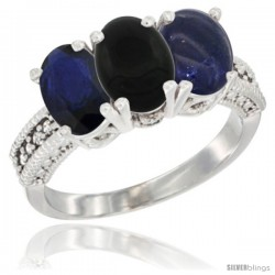 14K White Gold Natural Blue Sapphire, Black Onyx & Lapis Ring 3-Stone 7x5 mm Oval Diamond Accent