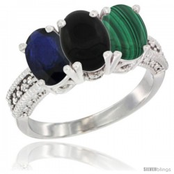 14K White Gold Natural Blue Sapphire, Black Onyx & Malachite Ring 3-Stone 7x5 mm Oval Diamond Accent
