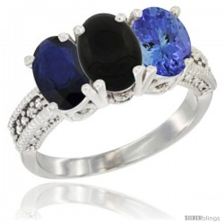 14K White Gold Natural Blue Sapphire, Black Onyx & Tanzanite Ring 3-Stone 7x5 mm Oval Diamond Accent