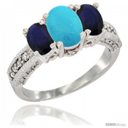 14k White Gold Ladies Oval Natural Turquoise 3-Stone Ring with Blue Sapphire Sides Diamond Accent