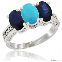 14K White Gold Natural Turquoise & Blue Sapphire Sides Ring 3-Stone 7x5 mm Oval Diamond Accent