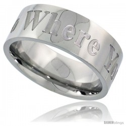 Surgical Steel 8mm Wedding Band Ring WHERE YOU GO I WILL GO Comfort-Fit