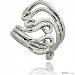 Sterling Silver Hand Made Freeform Wire Wrap Ring, 1 1/8 in (28 mm) wide -Style Xrw4