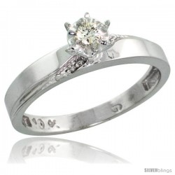 10k White Gold Diamond Engagement Ring, 1/8inch wide -Style Ljw115er