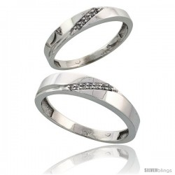 10k White Gold Diamond 2 Piece Wedding Ring Set His 4.5mm & Hers 3.5mm -Style Ljw115w2