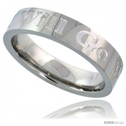 Surgical Steel 5mm Wedding Band Ring WHERE YOU GO I WILL GO Comfort-fit