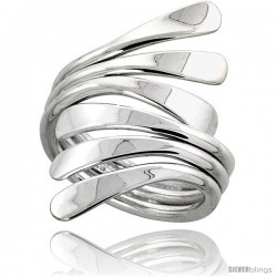 Sterling Silver Hand Made Freeform Wire Wrap Ring, 1 1/4 in (34 mm) wide -Style Xrw39