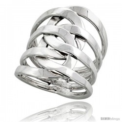 Sterling Silver Hand Made Freeform Wire Wrap Ring, 1 in (24 mm) wide -Style Xrw37