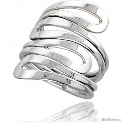 Sterling Silver Hand Made Freeform Wire Wrap Ring, 1 1/16 in (27 mm) wide -Style Xrw42