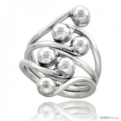 Sterling Silver Hand Made Freeform Wire Wrap Ring, 1 1/16 in (27 mm) wide -Style Xrw43