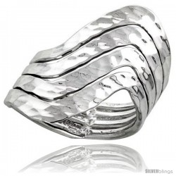 Sterling Silver Hand Made Hammered Finished Freeform Wire Wrap Ring, 1 1/8 in (29 mm) wide