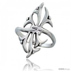 Sterling Silver Celtic Tribal Thorns Ring 1 1/8 in wide