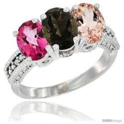 14K White Gold Natural Pink Topaz, Smoky Topaz & Morganite Ring 3-Stone 7x5 mm Oval Diamond Accent