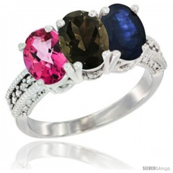 14K White Gold Natural Pink Topaz, Smoky Topaz & Blue Sapphire Ring 3-Stone 7x5 mm Oval Diamond Accent