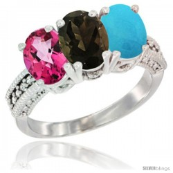 14K White Gold Natural Pink Topaz, Smoky Topaz & Turquoise Ring 3-Stone 7x5 mm Oval Diamond Accent