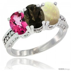 14K White Gold Natural Pink Topaz, Smoky Topaz & Opal Ring 3-Stone 7x5 mm Oval Diamond Accent