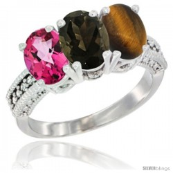 14K White Gold Natural Pink Topaz, Smoky Topaz & Tiger Eye Ring 3-Stone 7x5 mm Oval Diamond Accent