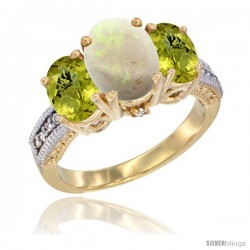 10K Yellow Gold Ladies 3-Stone Oval Natural Opal Ring with Lemon Quartz Sides Diamond Accent