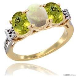 10K Yellow Gold Natural Opal & Lemon Quartz Sides Ring 3-Stone Oval 7x5 mm Diamond Accent