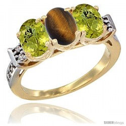 10K Yellow Gold Natural Tiger Eye & Lemon Quartz Sides Ring 3-Stone Oval 7x5 mm Diamond Accent