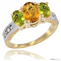 10K Yellow Gold Ladies Oval Natural Whisky Quartz 3-Stone Ring with Lemon Quartz Sides Diamond Accent