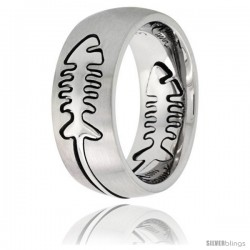 Surgical Steel Domed 9mm Fish Bone Ring Wedding Band Comfort-Fit