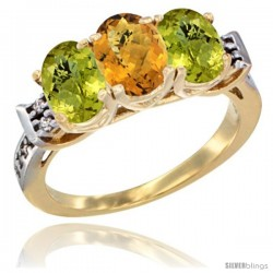 10K Yellow Gold Natural Whisky Quartz & Lemon Quartz Sides Ring 3-Stone Oval 7x5 mm Diamond Accent