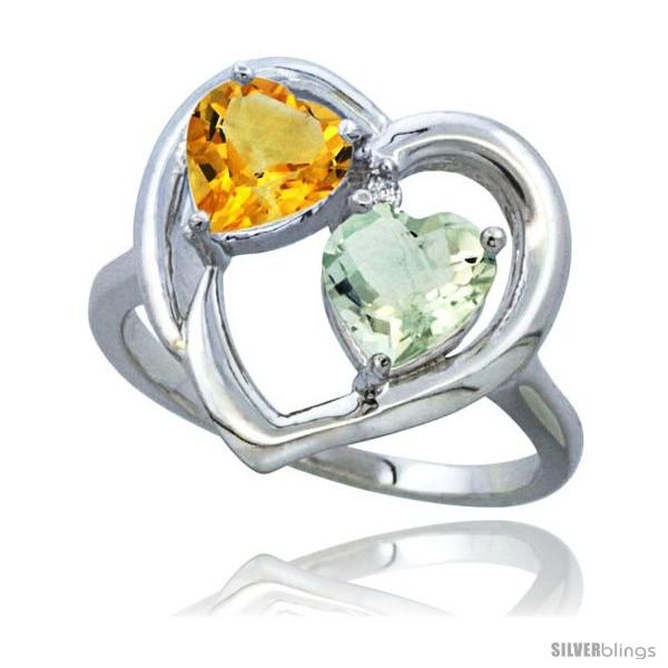 Amethyst Heart Ring Diamond Accent K White Gold