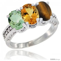 10K White Gold Natural Green Amethyst, Citrine & Tiger Eye Ring 3-Stone Oval 7x5 mm Diamond Accent