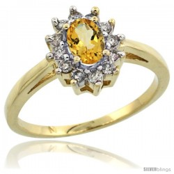 10k Yellow Gold Citrine Diamond Halo Ring Oval Shape 1.2 Carat 6X4 mm, 1/2 in wide