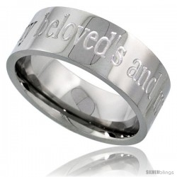 Surgical Steel 8mm Wedding Band Ring I AM MY BELOVEDS AND MY BELOVED IS MINE Comfort-Fit
