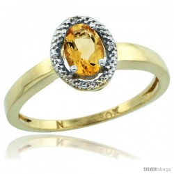 10k Yellow Gold Diamond Halo Citrine Ring 0.75 Carat Oval Shape 6X4 mm, 3/8 in (9mm) wide