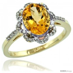 10k Yellow Gold Diamond Halo Citrine Ring 1.65 Carat Oval Shape 9X7 mm, 7/16 in (11mm) wide