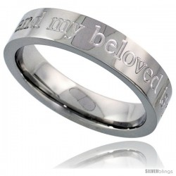 Surgical Steel 5mm Wedding Band Ring I AM MY BELOVEDS AND MY BELOVED IS MINE Comfort-Fit