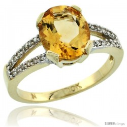 10k Yellow Gold and Diamond Halo Citrine Ring 2.4 carat Oval shape 10X8 mm, 3/8 in (10mm) wide