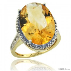 10k Yellow Gold Diamond Citrine Ring 13.56 Carat Oval Shape 18x13 mm, 3/4 in (20mm) wide