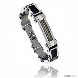 Gent's Stainless Steel Cable & Black Carbon Fiber Bracelet, 5/8 in wide, 8 1/2 in long